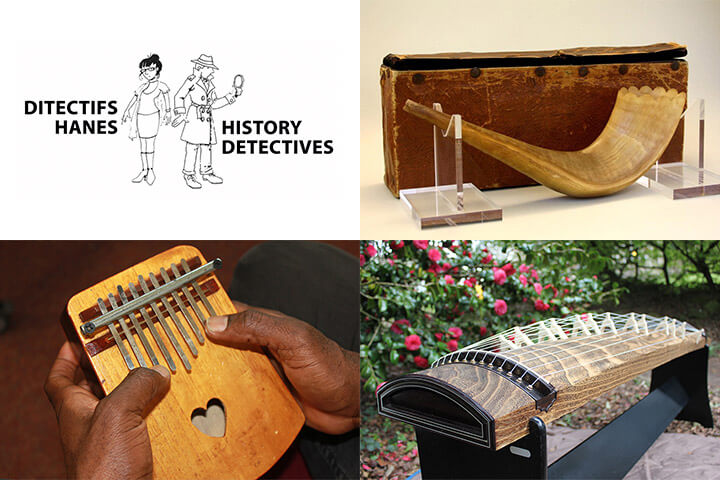 Photographs of musical instruments. Shofar, koto and thumb piano.