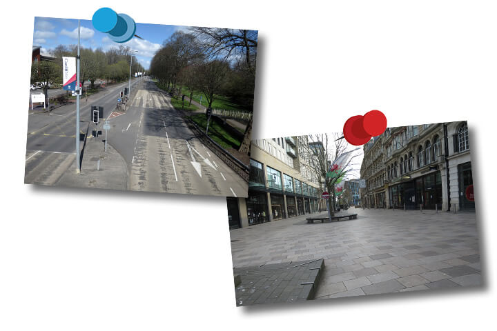 Two photographs. Photo one - Western Avenue in Cardiff with no traffic. Photo two - The Hayes in Cardiff with no people.