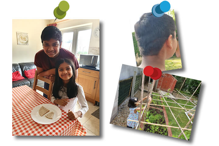 Three photographs showing two children living in lockdown. Photo one, smiling children with a plate of food. Photo two, boy showing off a home haircut. Photo three, girl in garden making a structure for plants to grow on.