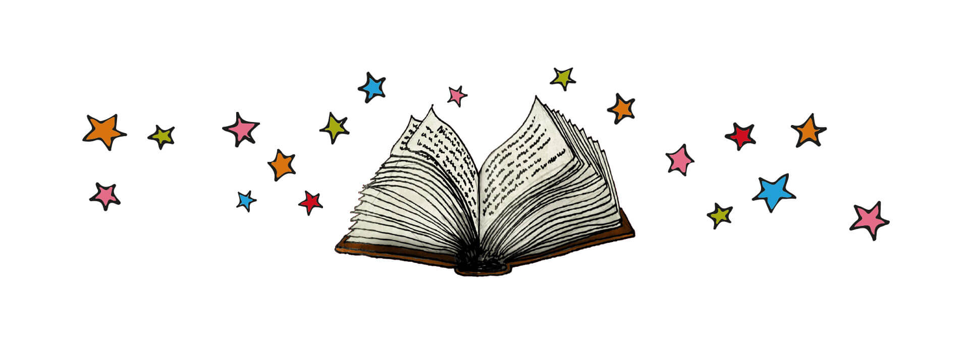 Illustration of storybook and multicoloured stars.