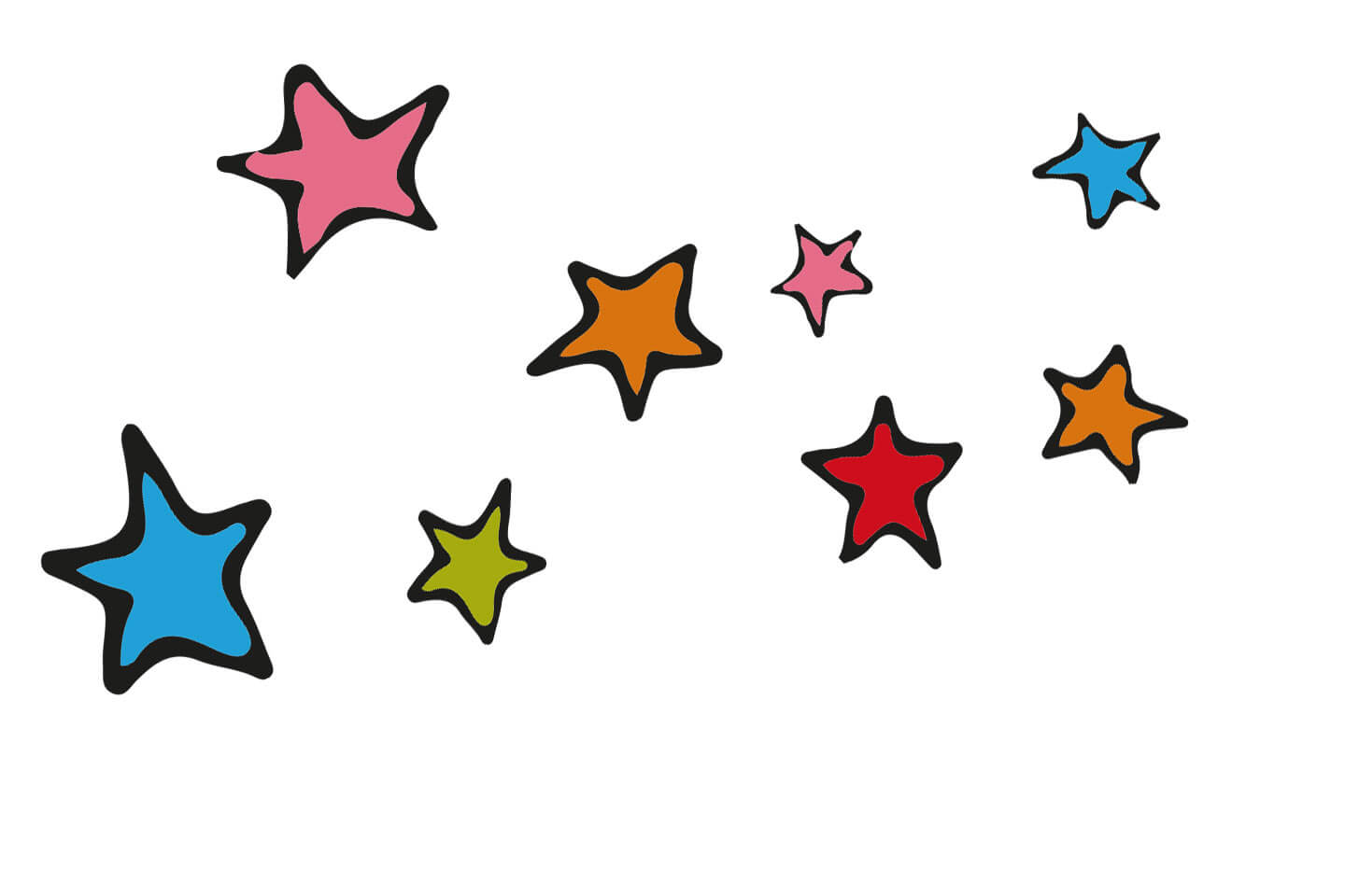 Colourful illustrated stars