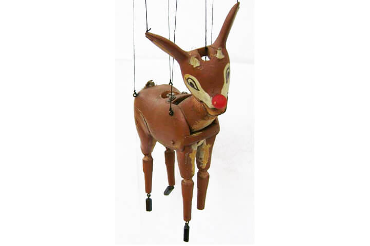 Marionette reindeer puppet, carved from wood.