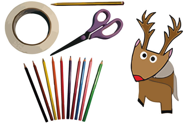 What you need for reindeer craft. Scissors, pencil, pencil crayons, sticky tape