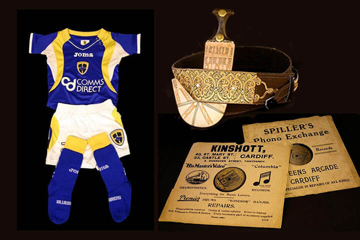 Collage of objects. Children's Cardiff City football kit. A Yemeni dagger. Two record sleeves, Kinshott of Castle Street Cardiff and Spiller's of Queens Arcade, Cardiff.